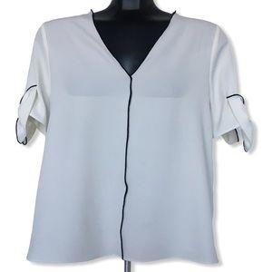 Zara V-Neck Short Bow Sleeve White Blouse Medium